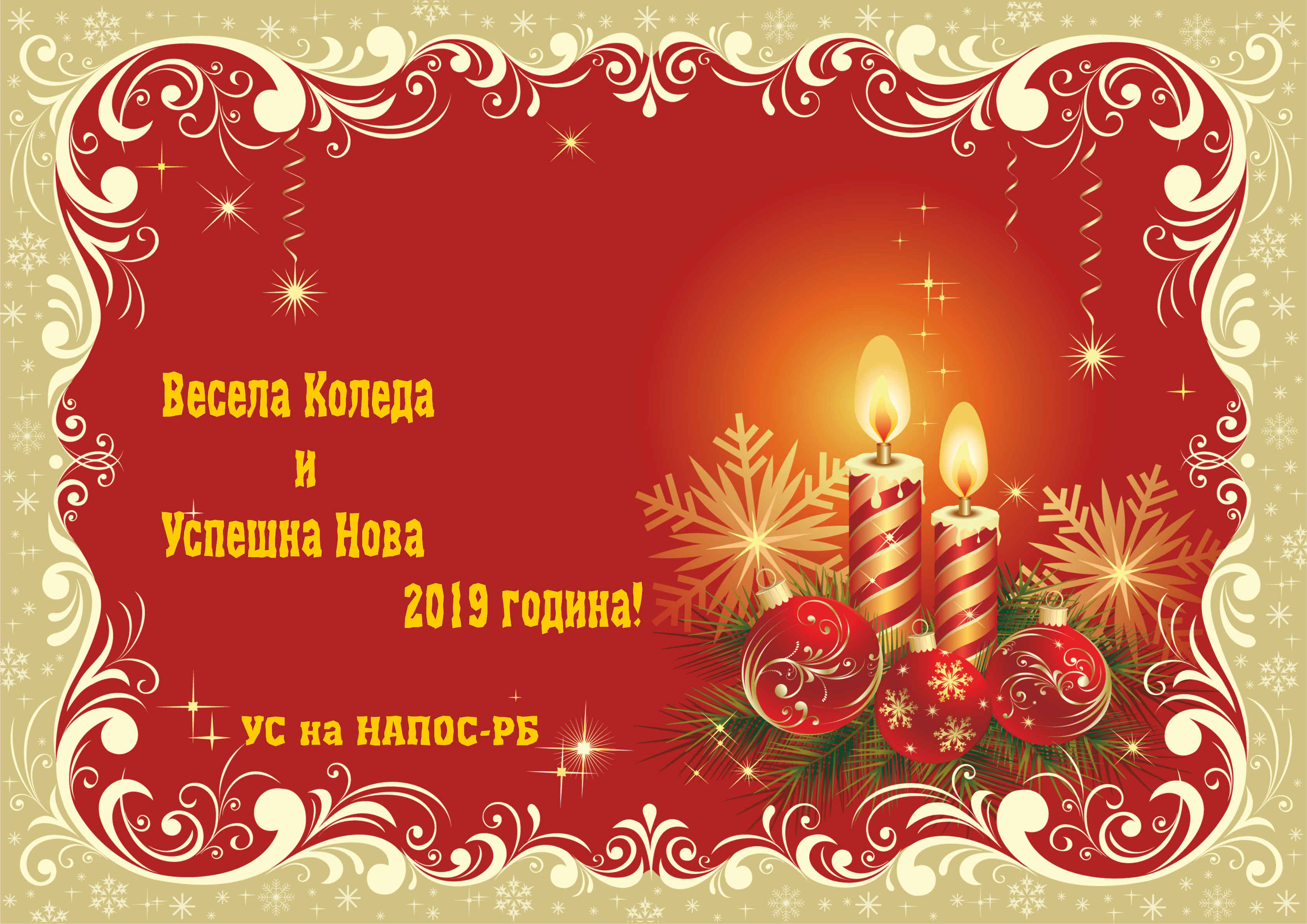 Весела Коледа и Щастлива Нова 2019 година от УС на НАПОС-РБ